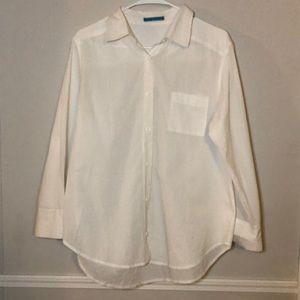Alice + Olivia   White Button Down Polo Shirt